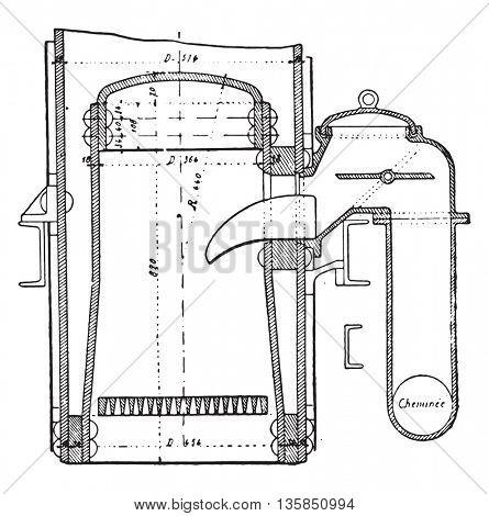 Bonnefond water bottle system, vintage engraved illustration. Industrial encyclopedia E.-O. Lami - 1875.