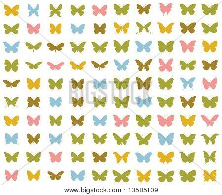 100 different silhouettes of butterflies. 1st series.