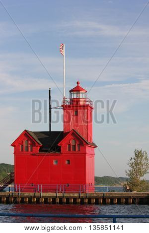 Big Red or Holland Lighthouse standing proudly and still serving a purpose.