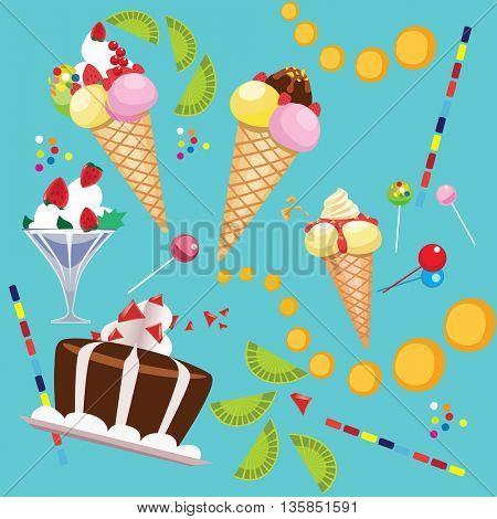composition of confectionery, ice cream, whipped cream, cake, lollipop