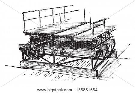 Mechanism of the mobile platform, vintage engraved illustration. Industrial encyclopedia E.-O. Lami - 1875.