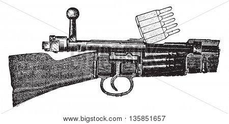 German rifle, vintage engraved illustration. Industrial encyclopedia E.-O. Lami - 1875.