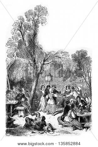 Adults and children at the Brasserie of the Karlsruhe Guesthouse in Karlsruhe, Baden-wurttemberg, Germany. From Chemin des Ecoliers, vintage engraving, 1876.