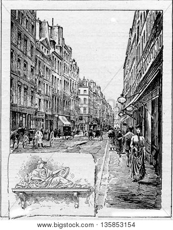Ancient road which in 1688 became named Rue de la Comedie, in Paris, France. A sculpture of the Roman Goddess Minerva is found on No.14 Rue de la Comedie. Vintage engraving.