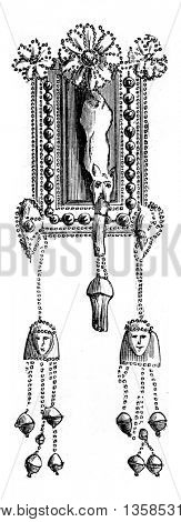 Ancient Phoenician earrings believed to be Egyptian in artistic origin, probably traded through Kameiros, Rhodes in Greece, preserved at the Louvre Museum. Fine Arts Book, vintage engraving, 1880.