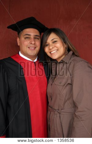 Happy Couple On Graduation Day