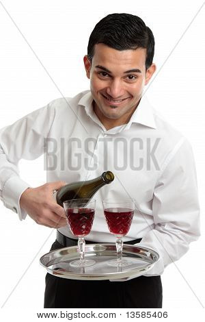 Smiling Servant Or Waiter With Wine