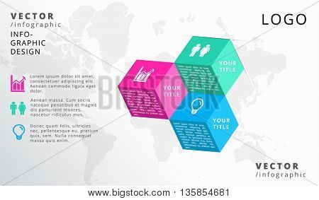 3D CUBES , THREE - STEP, VECTOR BUSINESS INFOGRAPHIC