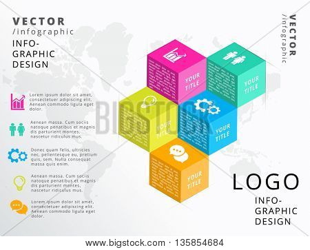 3D CUBES , FIVE - STEP, VECTOR BUSINESS INFOGRAPHIC
