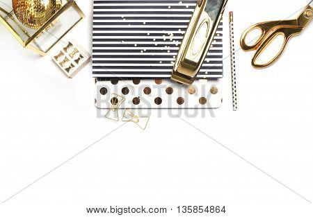 White background. Header website or Hero website Mockup product view table gold accessories. stationery supplies. glamour style. Gold stapler. Flat lay