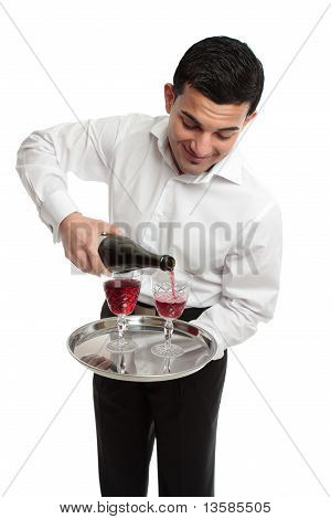 Waiter Or Servant Pouring Wine