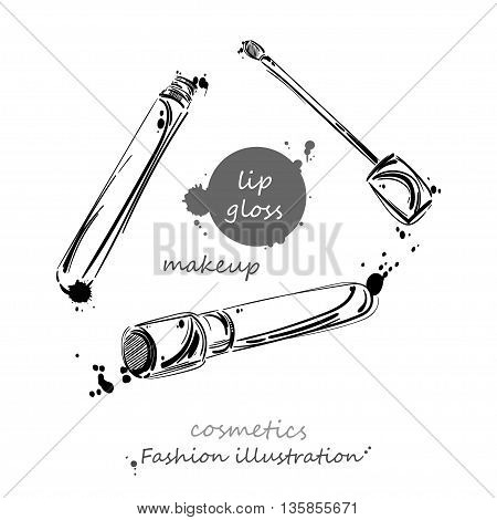 Vector abstract illustration of lip gloss. Beauty and fashion. Beauty saloon. Isolate on white background. Set