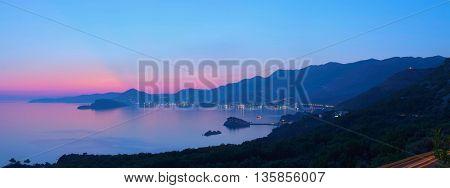 Budva Bay by night, Montenegro