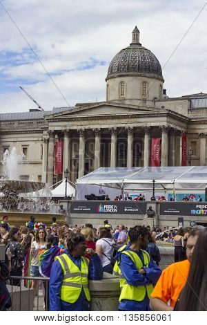 London England - June 25 2016: Crowded Trafalgar Square in front of National Gallery on the occasion of the Gay Pride March in London England on the 25th of June 2016.