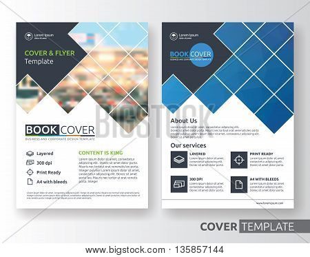 Multipurpose business corporate flyer layout design. Suitable for flyer brochure book cover and annual report. blue and black color in A4 size template background with bleeds. Vector illustration