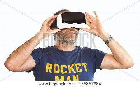 Mature Man Wearing Virtual Reality Googles / Vr Glasses