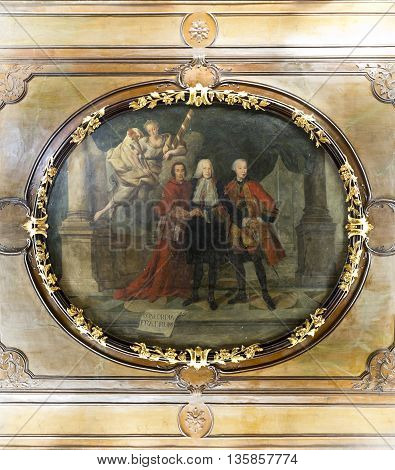 OEIRAS, PORTUGAL - November 4, 2015: 18th century painting on stucco (possibly by Joana do Salitre) depicting the Marquis of Pombal and his brothers in Palacio de Oeiras on November 4, 2015 in Oeiras, Portugal