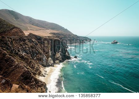 Photo of Pacific Ocean near Bixby Bridge in California 1 Highway