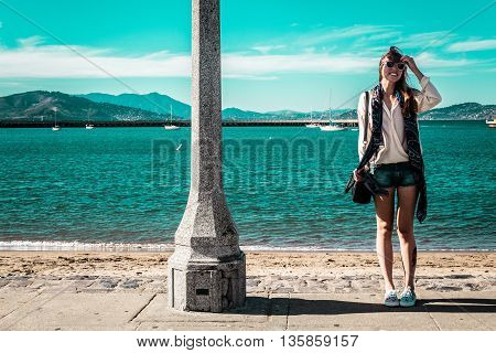 Girl At San Francisco Coast, California