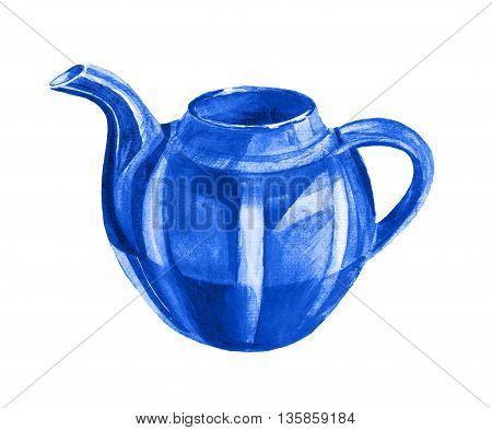 Blue Teapot On White Background
