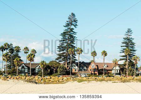 Photo of Houses and Palm Trees in Coronado Beach San Diego