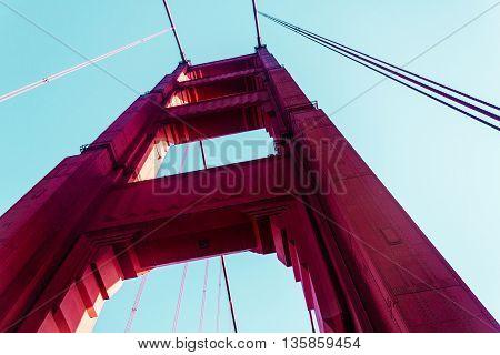 View From Below Of Golden Gate Bridge In San Francisco, California