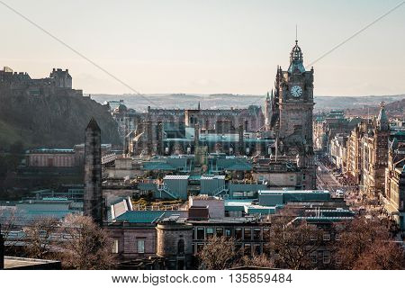 Buildings, Clock And Houses Of Edinburgh, Scotland