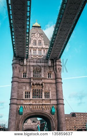 London Tower Bridge, Sunny Weather, England