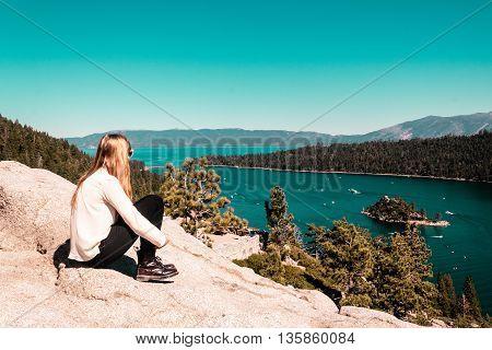 Girl Near Lake Tahoe, California