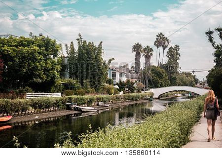 Girl Near Canals In Venice, Los Angeles, California