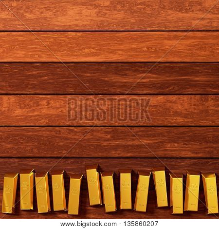 rendered gold bars in row on the planks view from above, 3d rendering
