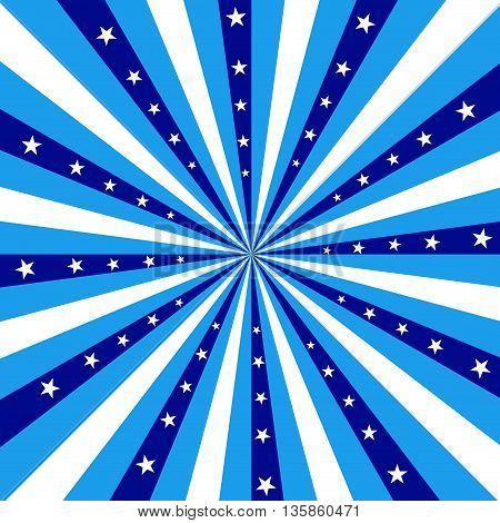 Square design featuring white and blue stripes radiating out from the center with white stars.