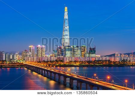 Seoul City Skyline At Han River Seoul, South Korea