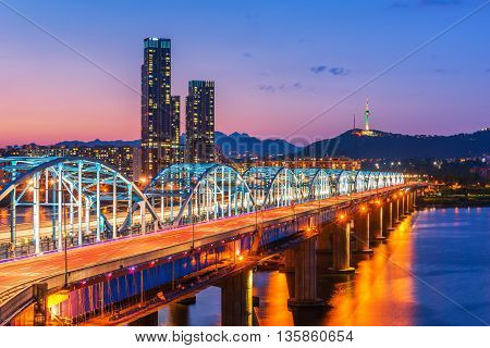 Dongjak Bridge Han River In Seoul , South Korea
