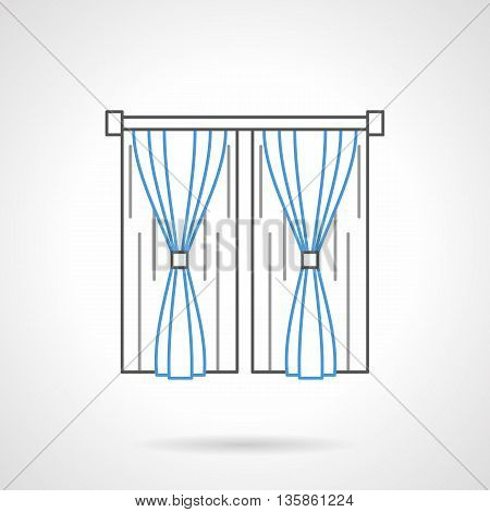 Classic curtains with tiebacks for bedroom or living room interior. Textiles for window decoration design. Flat blue and black line vector icon.