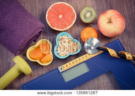 Electronic Bathroom Scale, Centimeter And Stethoscope, Healthy Food, Dumbbells For Fitness, Slimming