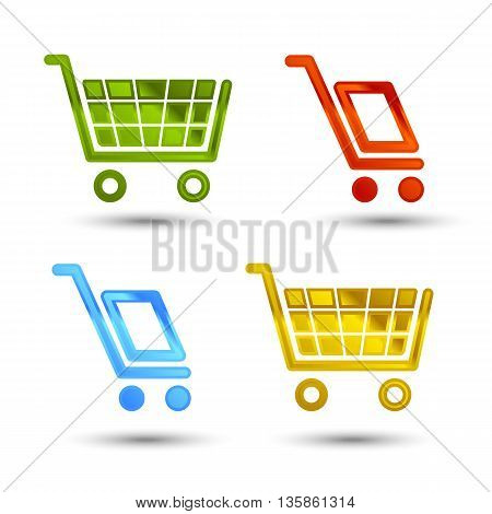 shiny shopping cart and delivery icons with shadow