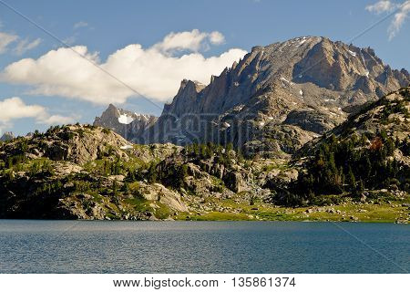 Fremont Peak and Island Lake.  The Wind River Range, Rocky Mountains, Wyoming