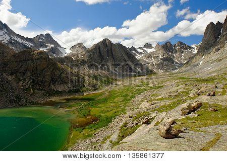 Titcomb Lake and Alpine Skyline.  The Wind River Range, Rocky Mountains, Wyoming