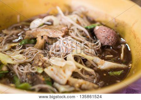 closeup noodle soup Thai style ( pork liver,bean sprouts,)