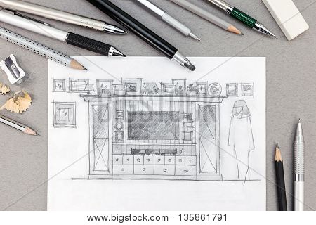Sketch Of An Entertainment Wall With Various Drawing Tools On Gray Background