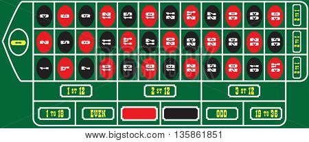 Basic Layout table roulette green cloth game board.