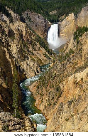 Yellowstone Falls and the Grand Canyon of the Yellowstone. Yellowstone National Park Wyoming