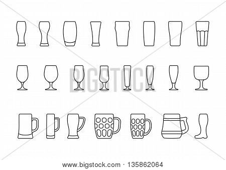 Beer glasses and mugs, vector minimal line icons set
