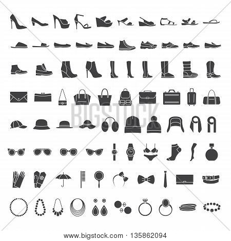 Shoes and accessories line. Vector icons set: shoes, bags, hats jewelry glasses