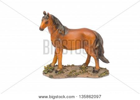 HorseChildren toy beautiful Horse souvenir made of resin on white background.