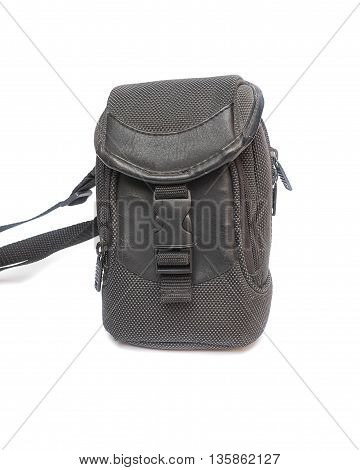 black camera bag on white background select focus front.