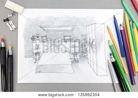 Freehand Sketch Of Modern Bedroom With Painting Tools