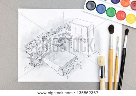 Designer Workplace With Drawing Of Bedroom And Drawing Tools