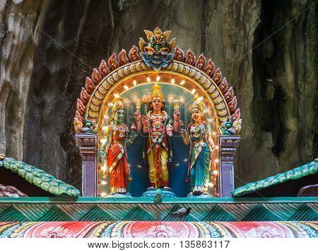 God statue inside batu caves in Kuala Lumpur Malaysia